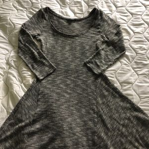 American Eagle Grey and Black Striped Dress